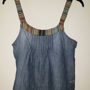 Hollister washed Jean's boho tan top size Small